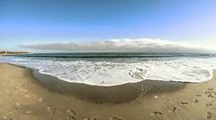The Tide Rushes In (WilliamND4) Tags: beach water ocean coast fisheye nikond610 rokinon 12mm footsteps sand
