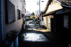 After the rain/Morning (yasu19_67) Tags: aftertherain morning sunlight shadow alley puddle filmlook filmlike digitaleffects atmosphere photooftheday sony7ilce7 9538mmf28 38mm xequals xequalscolornegativefilms osaka japan