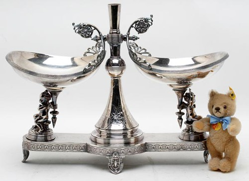 Victorian Silver Plate Double Cherub Epergne Center Piece ($268.80)