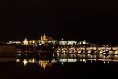 Prague at Night (mclcbooks) Tags: prague praha czechrepublic katedrálasvatéhovíta vltavariver night evening water reflections landscape cityscape charlesbridge karlůvmost pražskýhrad praguecastle longexposure le
