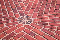 Pattern in brick (Thad Zajdowicz) Tags: brick sidewalk pattern color red lines shapes angles minimalism fineart zajdowicz canon pasadena california eos 5d3 5dmarkiii dslr digital lightroom availablelight background wallpaper outside outdoor urban city circle ef24105mmf4lisusm detail geometric architecture brickwork diagonal abstract texture