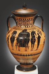 A Black-figure Neck-amphora, Attributed to the Painter of Cambridge 51 H. 38.5 cm. Clay Attic, ca. 530-520 B.C. (mike catalonian) Tags: ceramics ancientgreece 520sbc painterofcambridge neckamphora blackfigure