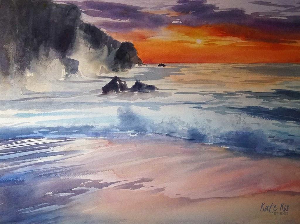 Acquerello Sea Beach Blue