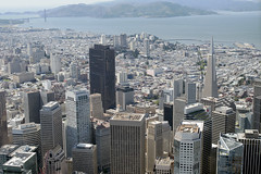 Aerial view of the Financial District, San Francisco, California (cocoi_m) Tags: aerialphotograph aerial geology financialdistrict milleniumtower goldengatebridge sanfrancisco sanfranciscocounty california transamericapyramid sanfranciscobay saucellito marincounty sinking tilting