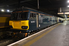 GBRf 92010 (Will Swain) Tags: station 16th october 2016 train trains rail railway railways transport travel uk britain vehicle vehicles country england english london euston capital city centre gbrf 92010 great freight caledonian sleeper cs