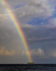 Roy G Biv (noblerzen) Tags: weather clouds rain forcedperspective palmtrees tropical island rainbow d500 nikon maldives