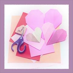 Rock, Paper, Scissors (Explored) (lclower19) Tags: takeaim rock paper scissors origami namaste pastel pink purple peach white frame square odt tool explored