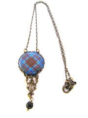 CUSTOM ORDER FOR DIANE Ancient Romance Series - Scottish Tartans Collection - Anderson Clan Tartan Gothic Filigree Necklace with Mystic Black Swarovski Crystal Pearl