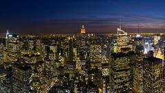 Manhattan Evening (PangolinOne) Tags: panorama usa newyork skyline america skyscraper cityscape unitedstates manhattan places timessquare empirestatebuilding chryslerbuilding bryantpark metlifetower newyorklifebuilding metlifebuilding gebuilding verrazanonarrowsbridge bankofamericatower