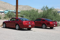 Pair o' Stangs (twm1340) Tags: 2005 railroad arizona ford gm rr az mustang gt coupe fp7 clarkdale verdecanyon emd