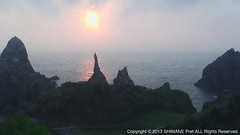 Sunset on the Kuniga Coast2013.08.10 18:32 (OK!OKi) Tags: sunset sea nature japan islands coast  shimane geo  oki     nishinoshima geopark kuniga livecamera