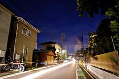 Neighbourhood Gloaming (T.F. Buckingham) Tags: nikon long dusk doubleexposure bluehour 24mm typhoon gloaming lightstream d700