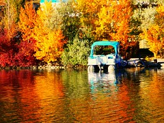 A pontoon boat in a sea of autumn colours (peggyhr) Tags: blue trees red orange white canada green water yellow reflections dock bc loonlake pontoonboat peggyhr p1000706a
