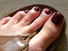 Mochachino-8 (toepaintguy) Tags: red snow man men guy feet foot toes toe sandals maroon nail deep polish nails manicure pedicure sandal lacquer pedi