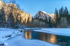 Christmas On The Merced (Darvin Atkeson) Tags: snow ice forest river landscape frozen nationalpark village merced yosemite halfdome yosemitevalley snowscape northdome darvin darv liquidmoonlightcom lynneal