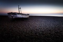 Adrift in Blues [Explored] (jellyfire) Tags: england sunrise canon landscape dawn boat suffolk unitedkingdom shingle aldeburgh emotive atmospheric goldenhour eastanglia greatbritian 1740mmf4lusm canon5dmkii