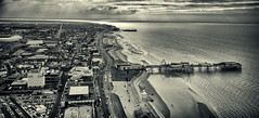 Panorama from Blackpool tower - FlickR explore 1/01/2014 (S.R.Murphy) Tags: sea england blackandwhite bw panorama seascape beach water monochrome canon landscape mono coast landscapes pier sand unitedkingdom shoreline panoramic aerial coastal shore blackpool whiteandblack blackpooltower blackpoolbeach flickrexplore 5000views coastallandscape s95 canons95 niksilverefexpro2 lightroom5 feb2013