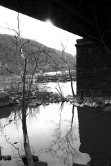 Water and Shelter (unflux) Tags: bridge water harpers ferry train river nikon under wv potomac shelter unflux d80