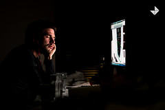 2014_02_26_rendering (Jaka Birsa Photography) Tags: light red portrait selfportrait color night computer office nikon working 85mm monitor sleepy midnight autocad late manualfocus earplugs rendering februar d800 3dsmax closedeyes 2014 feb26