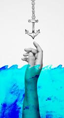 drowning (jadehpark) Tags: ocean blue light portrait white black art self watercolor photography nikon hand anchor simple conceputal