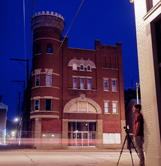 Knights of Pythias Syracuse Lodge, Madison, Indiana (deatonstreet) Tags: longexposure 120 6x6 film night kodak indiana madison 100 automat flexaret ektar