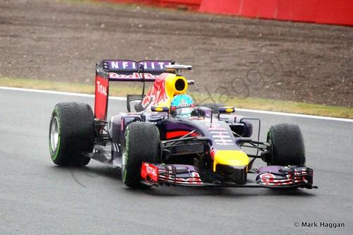 Sebastian Vettel in his Red Bull during Free Practice 3 at the 2014 British Grand Prix