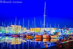 La Cala - Palermo (Daniele Carmona) Tags: danielecarmona theworldthroughmyeyes nikond7100 nikon nikoncorporation nightlight night shot blue sea palermo sicilia sicily italia italy boat boats