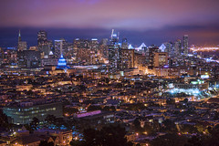 San Francisco Nights (TIA International Photography) Tags: sanfrancisco california cityscape city metropolis urban landscape night foggy overcast cloudy skyline skyscraper building baybridge hall dome illumination lights central business district commercial center centre cbd transamerica neighborhood row houses bayarea twilight landmark tosinarasi tiainternationalphotography