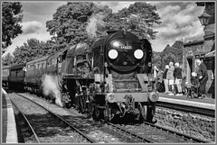 Taw Valley at Arley (Rob-33) Tags: 34027 tamron2875mmf28 tawvalley pentaxk3 pacificlocomotive bulliedpacific svr severnvalleyrailway steamrailway steampreservation steamlocomotive arleystation southernrailways monochrome blackandwhite uksteam