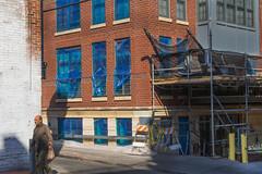 Blue, 18th Street, NW, Washington, DC (lacafferata) Tags: patio gravel brickbuilding repairs construction blueplastic scaffold scaffolding workman sidewalk adamsmorgan