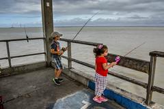 Lily and DoodleBug fishing on the pier at Jekyll Island (Amanda L Brewer) Tags: jekyllislandvacation2016 amandalbrewer atlantic jekyllislandga fishingpier fishing