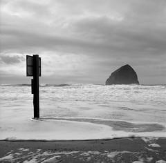 Haystack Rock with Sign, Oregon (austin granger) Tags: haystackrock sign oregon oregoncoast pacificcity seastack surf geology time gf670