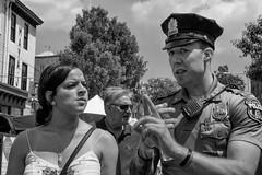 Manayunk, 2016 (Alan Barr) Tags: police philadelphia 2016 manayunk street sp streetphotography streetphoto blackandwhite bw blackwhite mono monochrome candid people group panasonic gx8