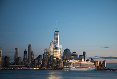 Norwegian Cruise Line's Norwegian Breakaway departs Manhattan and heads south down the Hudson River. (apardavila) Tags: hoboken hudsonriver manhtattan nyc newyorkcity norwegianbreakaway norwegiancruiseline oneworldtradecenter skyline