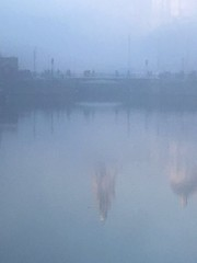 Reflections Through the Fog (Deydodoe) Tags: smog albertdock thickfog mist foggy fog liverpool merseyside rivermersey weather winter water 2016 bridge reflections reflect uk iphone mobile iphone6s england