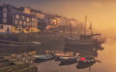 Dreamy Beginnings (Captain Nikon) Tags: dreamy sleepy misty tranquil peaceful stillness sunrise morning reflections mevagissey cornwall cornish southwest harbour harbourside walking boats nikond7100 sigma1835mmf18 holiday autumn seaside village