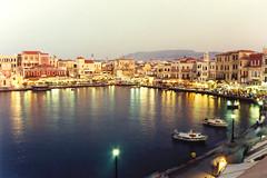Chania (alkanast) Tags: kriti crete hellas greece   film water sea   chania   nightshot   venezian harbour oldhouse port