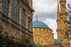 Neighbors in Downtown Beirut (farflungistan) Tags: canon7d fall2016 middleeast architecture beirut lebanon saintgeorgesmaronitecathedral mohammadalaminmosque rafikalhariri alaminmosque mosque maronitechurch beirutarchitecture