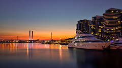 Harbour Sunset (Foto.V) Tags: sunset victoria harbour boats docklands marina orange sky waterfront bridge water reflections