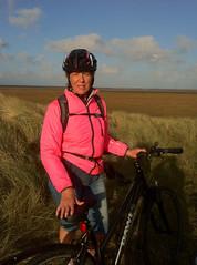 Up the coast from Holy Island (neil mp) Tags: northumberland coast october 2016 dusk pink bike bicycle helmet sky cloud dawes