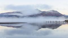 Derwent Water mist (Donard850) Tags: mist mountains cumbria derwentwater lake reflections fence lakedistrict