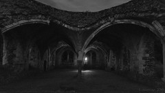 the ghost that was afraid of darkness (lunaryuna) Tags: england surrey farnham waverleyabbey ruins decayed abandoned forgotten cistercianmonastery riverwey floodland architecture decay night nightphotography nocturnalphotography nightlights ghost spooky fun monochrome blackwhite bw lunaryuna