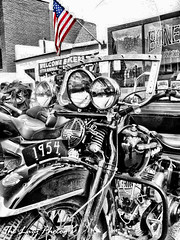 July 2011 - 1954 Harley police trike and Old Glory (lazy_photog) Tags: lazy photog elliott photography red lodge montana beartooth motorcycle rally highway pass bikers bikes babes old glory selective color