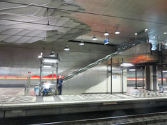 IMG_5535 (jaglazier) Tags: 1991 1991ad 2016 20thcentury 20thcenturyad 91716 architecture bielefeld buildings concretebuildings copyright2016jamesaglazier germany metalsculpture northrhinewestphalia platforms september stadtbahn steel tracks traintrack art clouds crafts escalators interiors lightrail metalworking sculpture stations trainstations trams underground