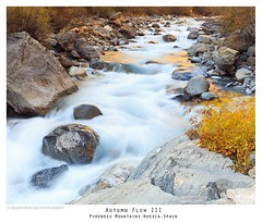 Autumn Flow III (Salva del Saz) Tags: salvadordelsaz salvadordelsazsalazar autumn fall otoo ro ara river flow stream corriente rocks rocas boulders longexposure largaexposicin huesca espaa spain pirineos pyrenees mountains reflections golden reflejos dorados aragn warmingpolarizer singhray