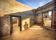 Haunted Namibia (Stuck in Customs) Tags: africa ghosttown namibia ratcliff stuckincustomscom trey treyratcliff becoming an artist workshop horizontal colour color desert dunes walking yoga orange yellow purple black sand mountain hdr tutorial photography photo outdoor outdoors outside people person lonely sony ilce7r september 2014 p2016 abandoned shadow house filming ghost town