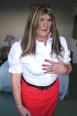 Janeredsktclo-003 (fionaxxcd) Tags: crossdresser crossdressing transvestite tranny trannie m2f mtf bust boobs rednails redlips mascara leatherbelt earrings