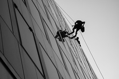 259/366 - When I'm cleanin' windas (Spannarama) Tags: 366 september lookingup blackandwhite windowcleaners abseiling ropes windows sky reflections bank london uk