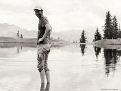 Lake man (katrienberckmoes) Tags: lake man speichersee hochalm family mountain rauris beautiful nature austria blackandwhite