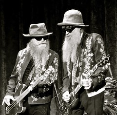 Two out of three  ZZ's (Dee Gee fifteen) Tags: 7dwf two zztop dustyhill billygibbons beards sunglasses hats guitars rockconcert crazytuesdaytheme people icons portrait dynamicduo
